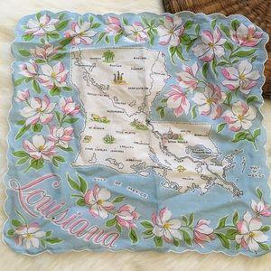Vintage Louisiana Map Floral Linen Hanky